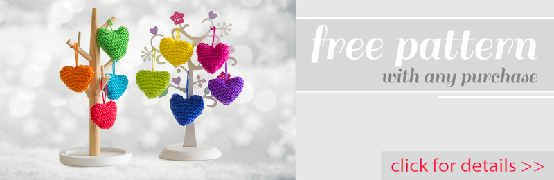 Get this tiny hearts knitting pattern free for Christmas when you make any purchase from our store before Christmas.  Click here for details.