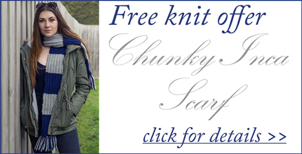 Free Knitting Pattern Offer - 'Inca Chic' Chunky Inca Scarf in Patons Inca knitting yarn