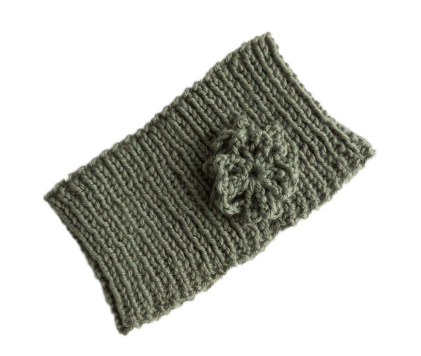 Image of cashmerino headband in Debbie Bliss yarn knitting pattern with optional crochet flower decoration
