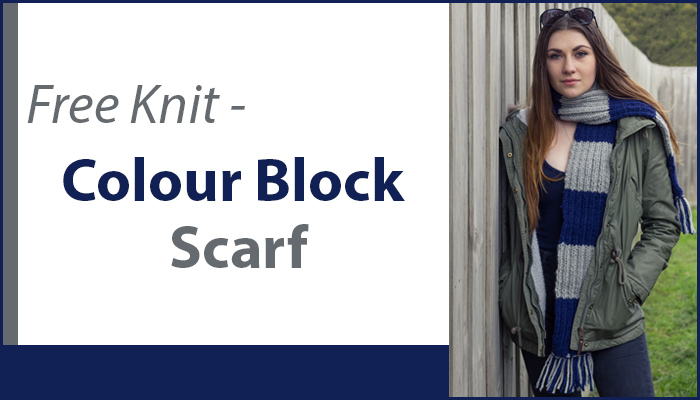 Free knitting pattern for our Inca Colour Block scarf when you make any purchase from our store