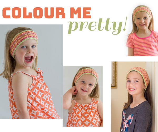 Colour Me Pretty - free knitting pattern for cotton headband for kids in 8ply knitting yarn