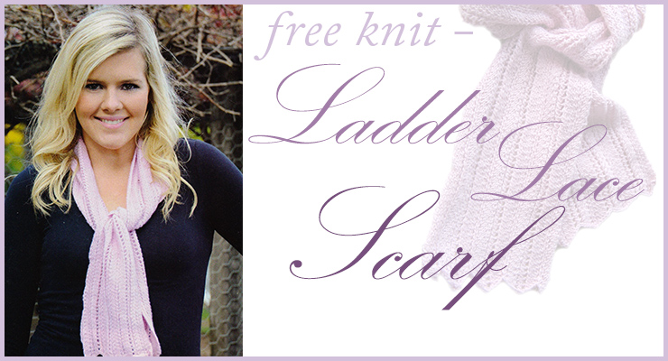 Eki Riva ladder lace baby alpaca scarf knitting pattern, free when you make any purchase from our store this month
