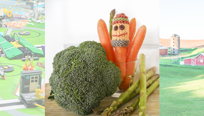 Image of our Sam the Vegie Man finger puppet for school holiday fun and creativity for kids to knit and play with