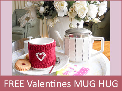 Valentines Day Mug Hug free pattern offer: limited time only