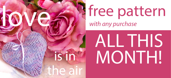 Love is in the Air free pattern with any purchase all this month