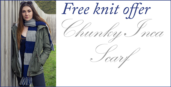 Free Knitting Pattern Offer: Striped Scarf 'Inca Chic' in bulky Patons Inca Knitting Yarn