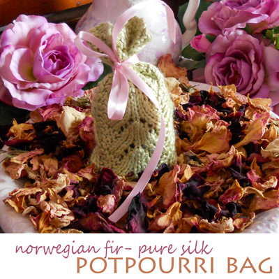 Norwegian Fir Pure Silk Potpourri Bag - Free Pattern