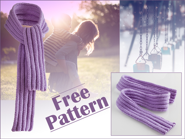 Free Knitting Pattern: Fine Merino Ribbed Scarf for Kids