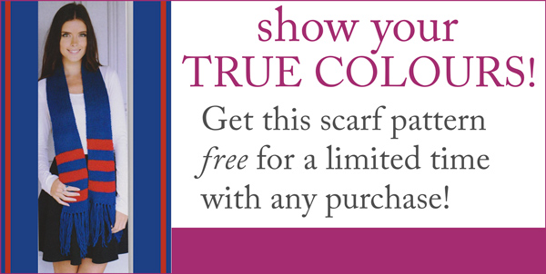 Show your True Colours - get this supporter scarf knitting pattern free for a limited time with any purchase