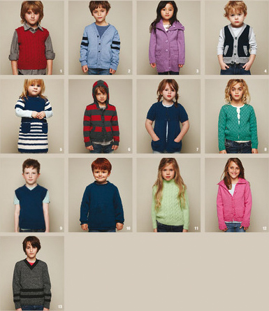 Patons Kids Classics pattern book 1307, knitting patterns for children aged 2-10 years in bluebell 5ply merino wool knitting yarn and 8ply wool