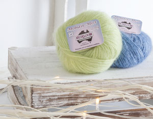 Image of new shades of Heirloom Mohair Mist knitting yarn - light green and blue
