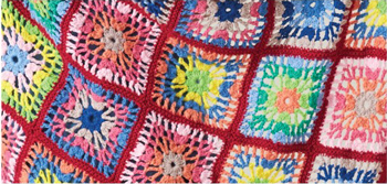 Image of Crochet Motif Throw Pattern Leaflet 001 from Heirloom Yarns, worked in Heirloom 8ply Cotton crochet yarn