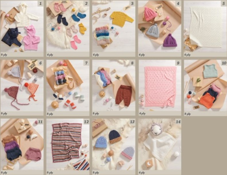 Image of knitting patterns inside Newborn Gifts pattern book 368 for babies 0-12 months