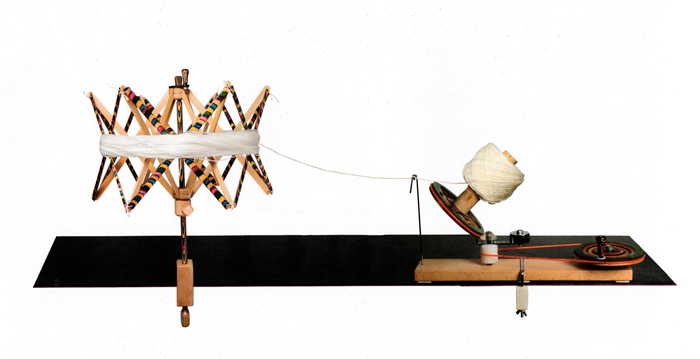 Image of the KnitPro Signature Ball Winder and Swift set up to wind yarn from skeins into balls