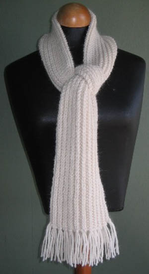 Our Broken Rib Scarf knitting pattern in alpaca yarn