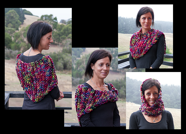Collage of the La Rambla triangular wrap worn as a headscarf, scarf, shrug and wrap, knitting pattern available now