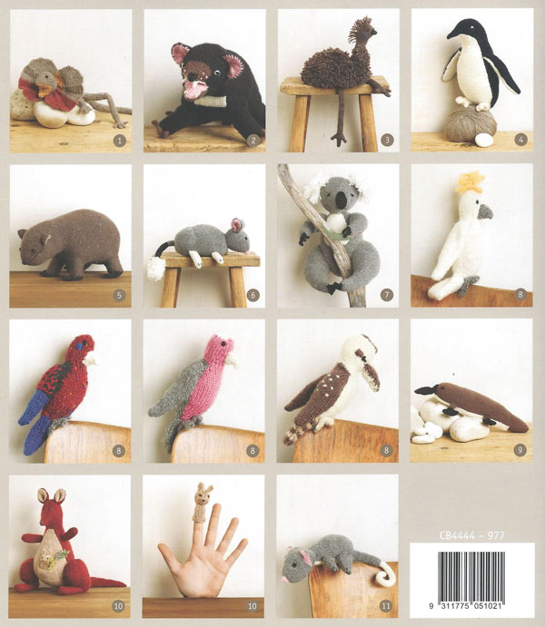 Some of the knitting patterns inside Aussie Animals