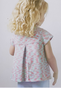 back view of Debbie Bliss Pleated Top for Kids Pattern Leaflet 104