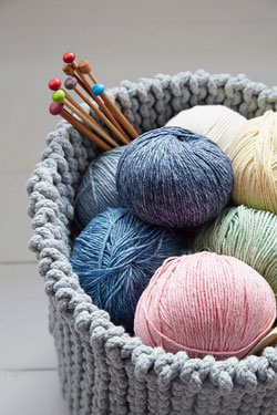 Image of Debbie Bliss Cotton Denim DK knitting yarn, stunning pastel sorbet and blue shades