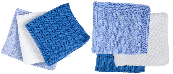 Image of the three designs for the Trio of Facewashers in 4ply: campanula stitch, 2 stitch check and pique diamonds knitting patterns