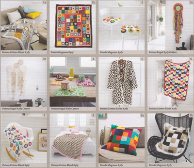 Image of the knit and crochet patterns inside Handmade Home, Patons Book 358