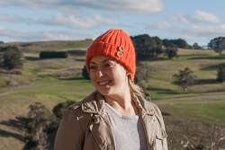 Image of the beanie in California knitting yarn from our Pure Wool Rib Beanie and Scarf set in Cleckheaton California yarn