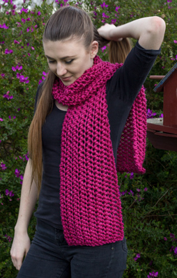 Image of our model wearing the Chunky Pure Merino Scarf from the knitting kit using our exclusive knitting pattern