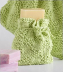 Image of the soap bag included in our Toiletries and Soap Bag knitting kit, including knitting pattern leaflet and pure cotton knitting yarn