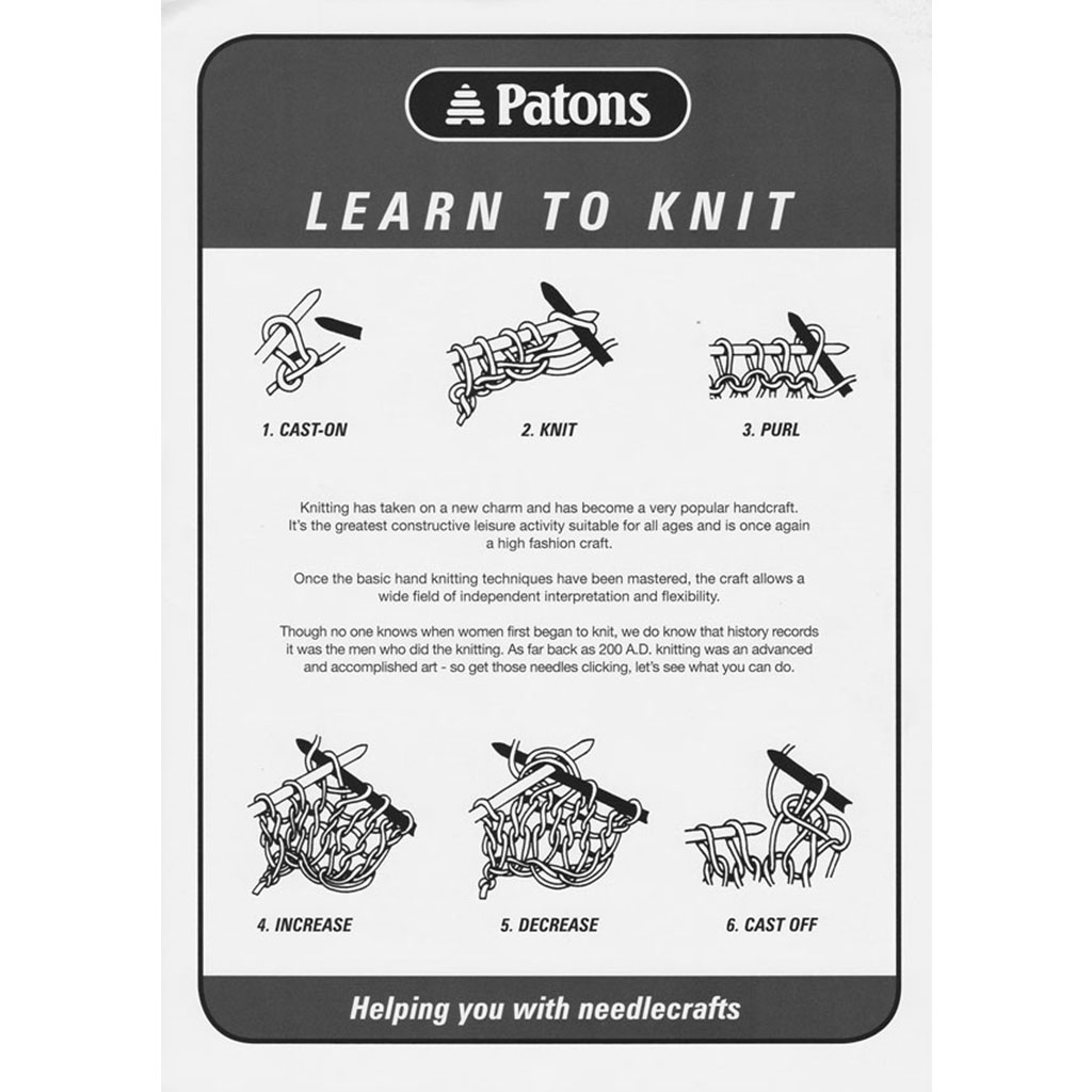 Learn To Knit : Patons Learn to Knit Leaflet Knitting Yarns by Mail