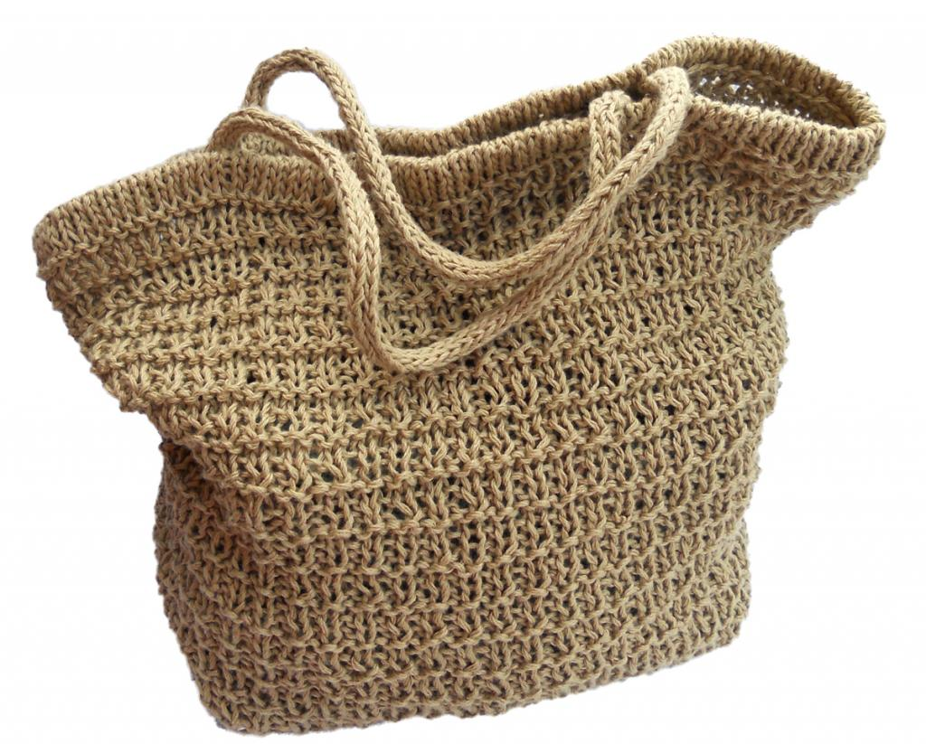 Knitted linen tote bag kit, with knitting pattern and bag base