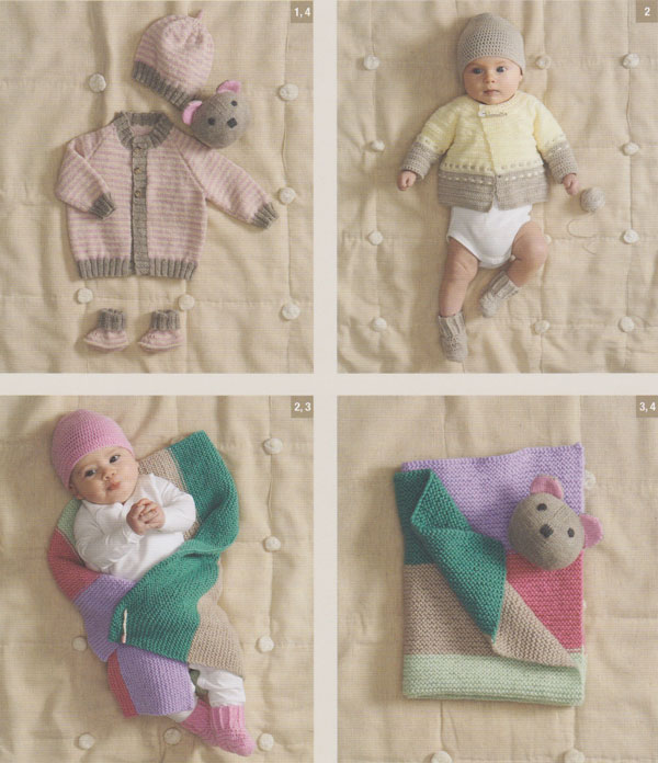 Image of some of the patterns inside Patons Little Babies Knit and Crochet Basics 8017