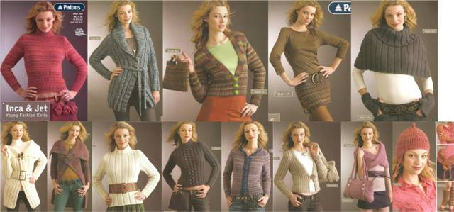 "Patterns inside Patons Book 1260 ""Inca & Jet: Young Fashion Knits"""
