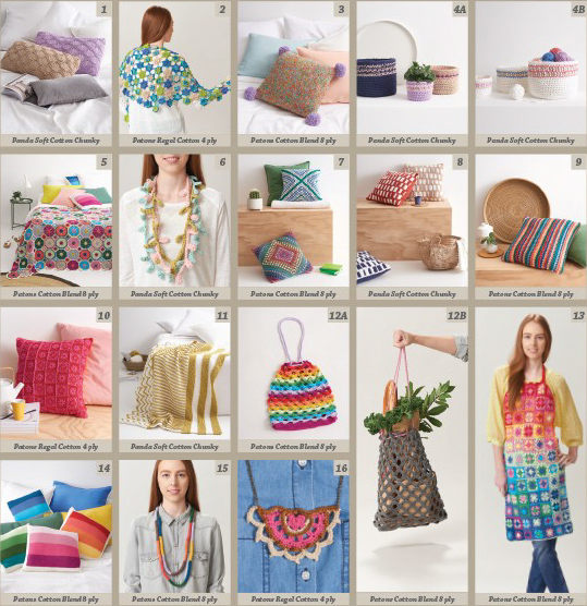 Images of patterns inside Creative Crafting from Patons and Panda, 16 designs to knit and crochet in cotton yarns for the home and for you