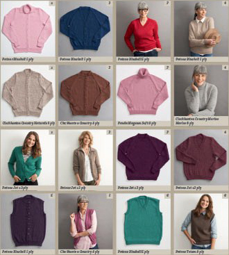 Patterns inside Women's Classic Knits for 5ply, 8ply and 12ply knitting wool