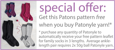 Special Offer: get a Patons Patonyle family sock pattern free when you buy Patonyle yarn