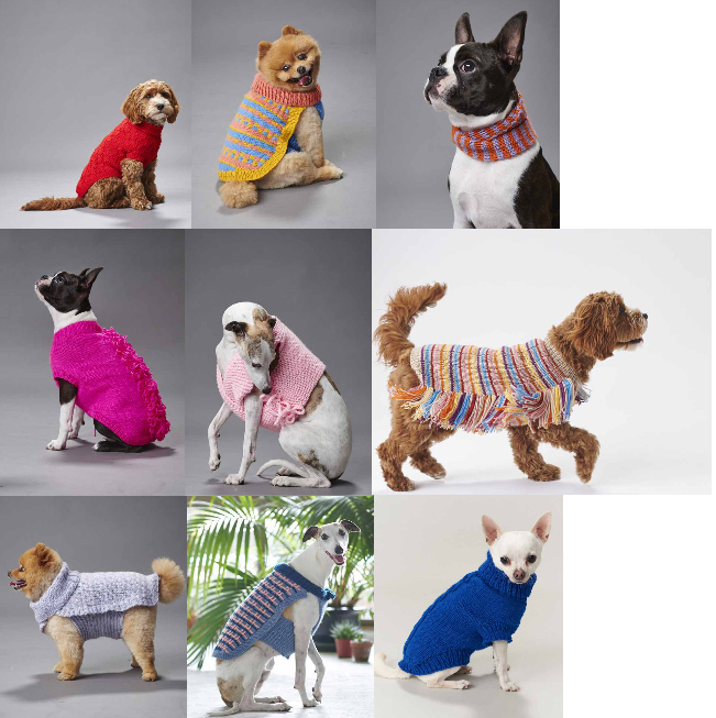 Patterns inside knitting pattern book Pooch Power from Heirloom and Panda yarns, 16 designs for dog of all shapes and sizes.