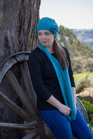 Image of our Flower Beanie in Pure Wool knitting pattern